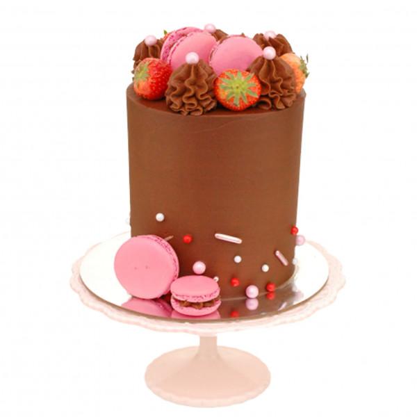 Semi Naked Cake Schoko Früchte Macaron