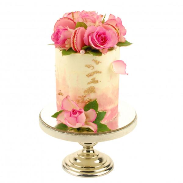 Semi Naked Cake Blumen Macarons pink