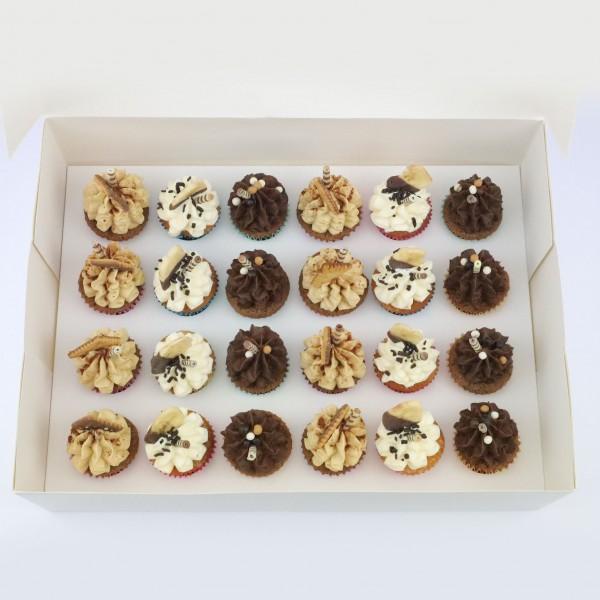 Mini Cupcakes 24 Stück - Box 1 mit Tiramisu, Banane, Schoko